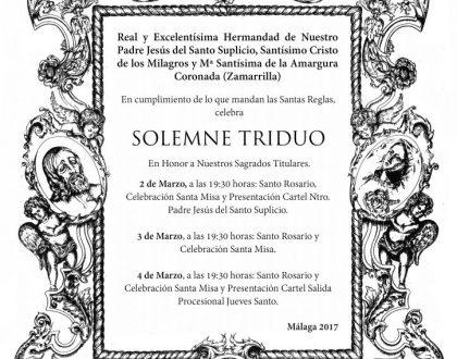 Solmene Triduo Cuaresmal y presentación de Carteles.