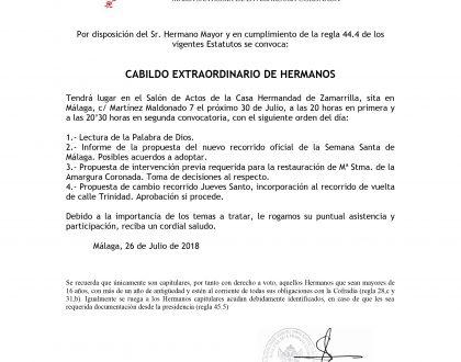 IMPORTANTE - Cabildo General Extraordinario de Hermanos