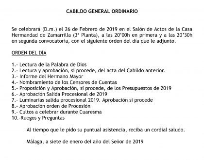 Convocatoria de Cabildo General Ordinario
