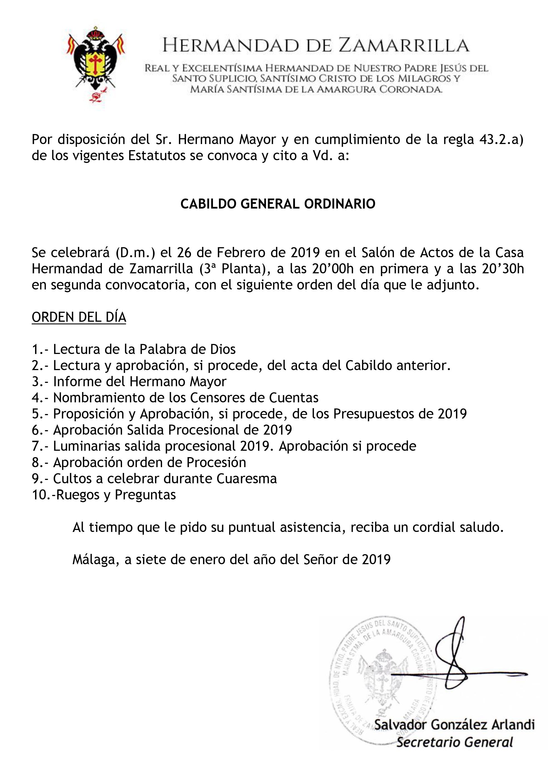 Convocatoria de Cabildo General Ordinario