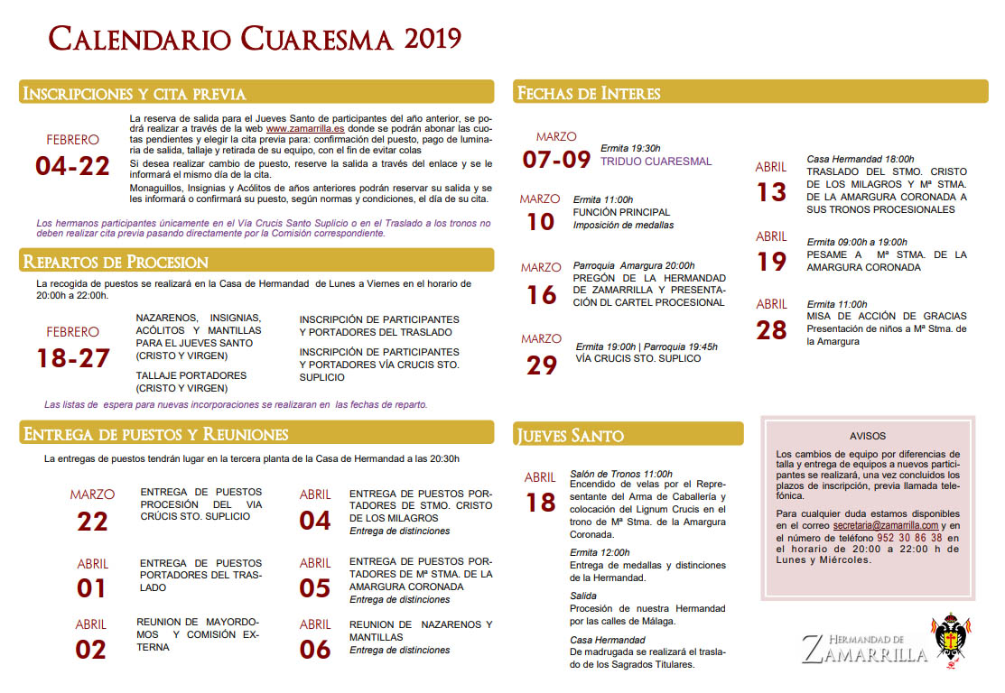 Calendario de Cuaresma 2019