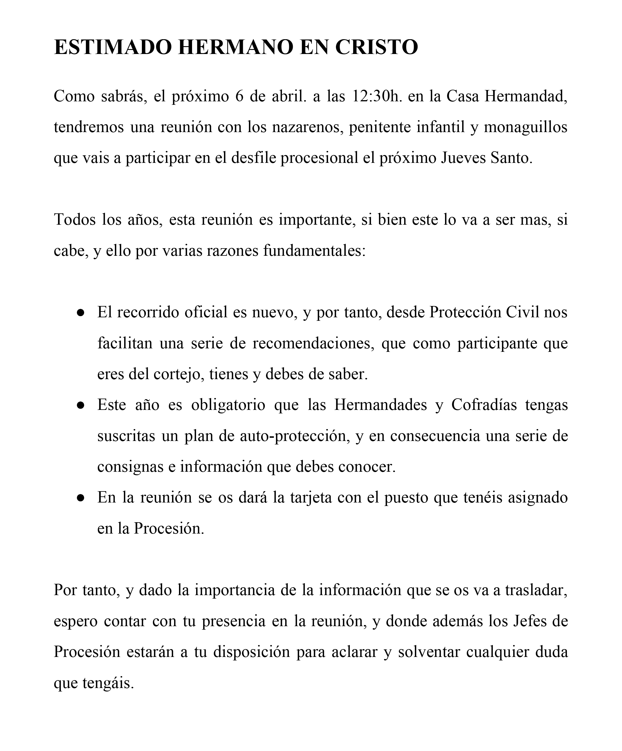 Reunión de Nazarenos que participan el próximo Jueves Santo 2019