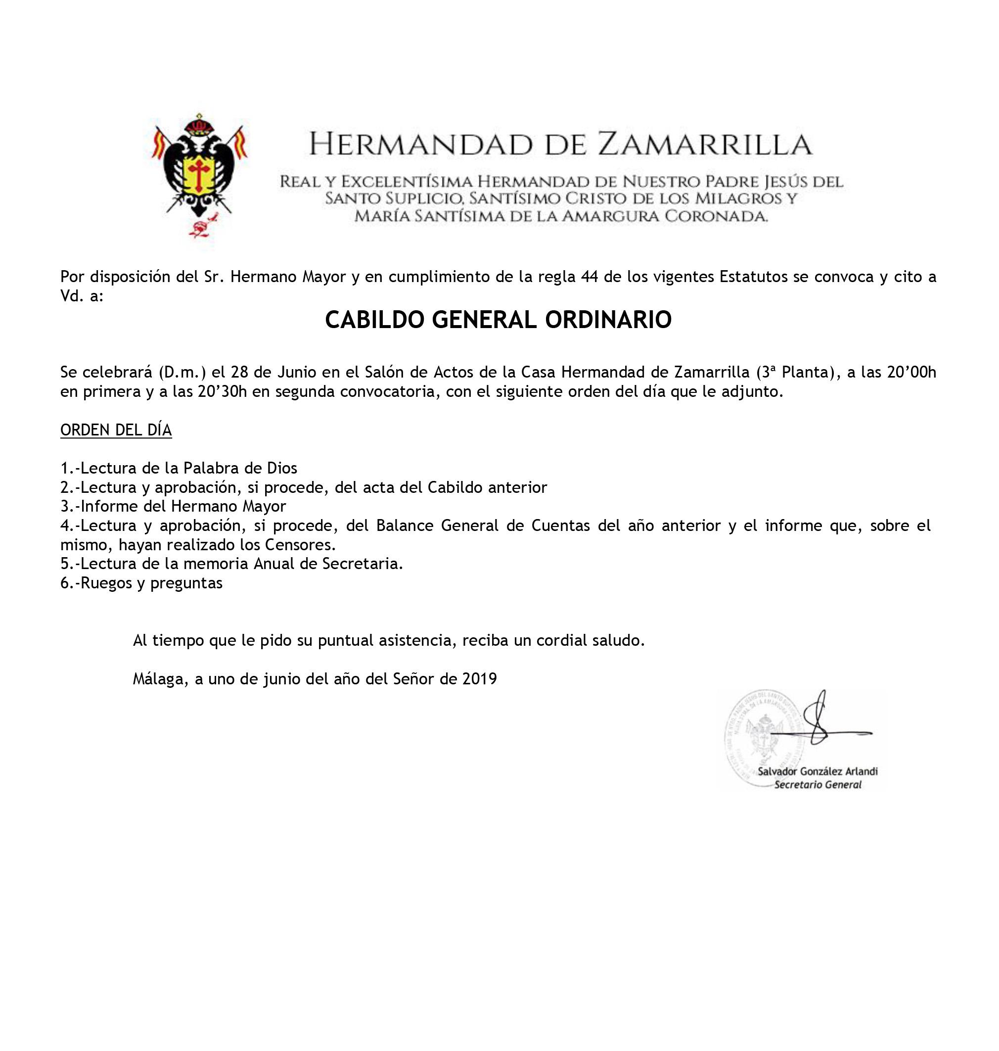 28 de Junio: Cabildo General Ordinario