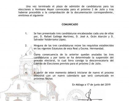 Comunicado: Desconvocatoria del Cabildo de Elecciones