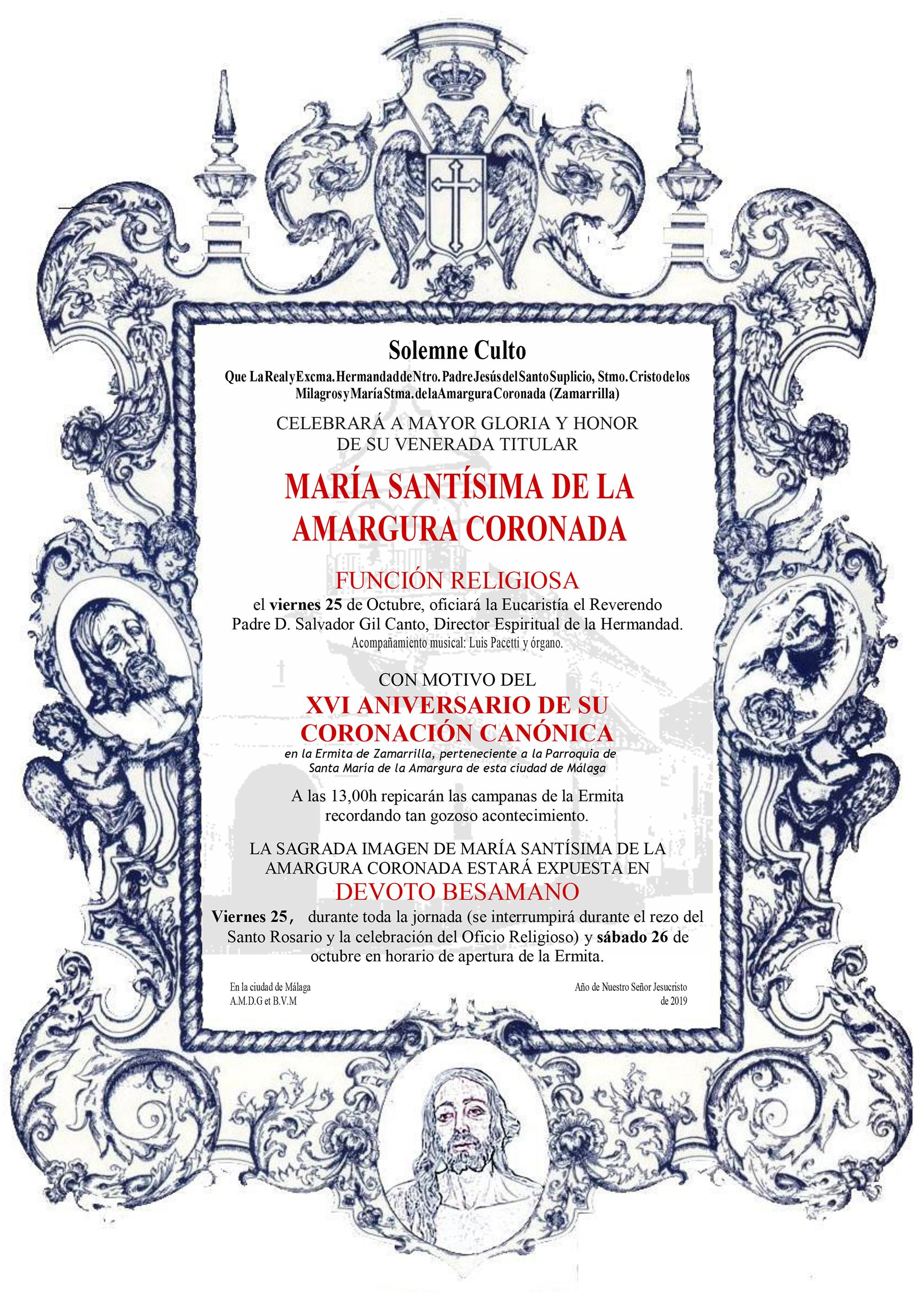 XVI Aniversario de la Coronación Canónica de María Santísima de la Amargura Coronada