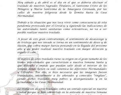 COMUNICADO - SÁBADO DE PASIÓN (04/04/20)