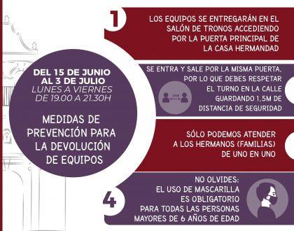 CALENDARIO - DEVOLUCIÓN DE TÚNICAS
