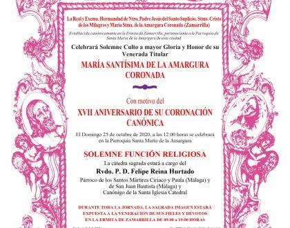 CULTOS - XVII ANIVERSARIO CORONACIÓN CANÓNICA MARÍA SANTÍSIMA DE LA AMARGURA
