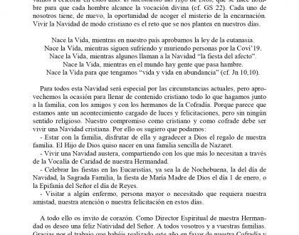 CARTA DEL DIRECTOR ESPIRITUAL (NAVIDAD 2020)