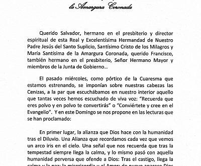 HOMILÍA FUNCIÓN PRINCIPAL (21/02/21)