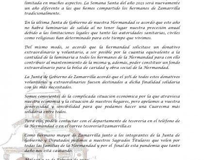 COMUNICADO OFICIAL - DONATIVO VOLUNTARIO SEMANA SANTA 2021