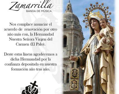 RENOVACIÓN DEL CONTRATO MUSICAL CON LA HERMANDAD DEL CARMEN (BARRIADA EL PALO)