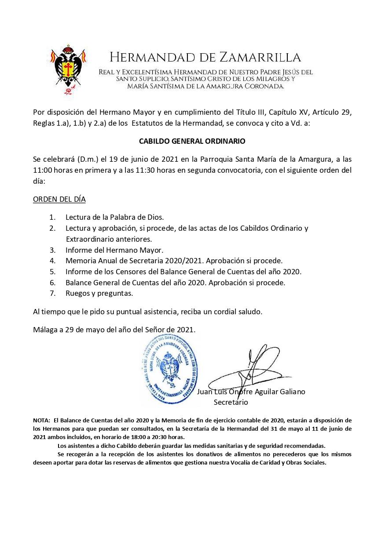 CITACIÓN CABILDO GENERAL ORDINARIO