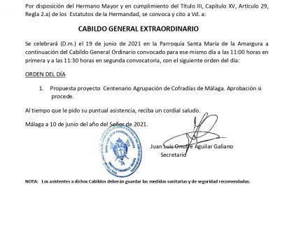CITACIÓN CABILDO GENERAL EXTRAORDINARIO (JUNIO 2021)